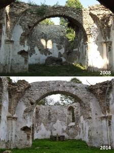 Porovnanie oblúku z lode kostola